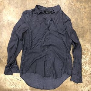Zara Top Button Down Shirt Mulberry Silk Polka Dot